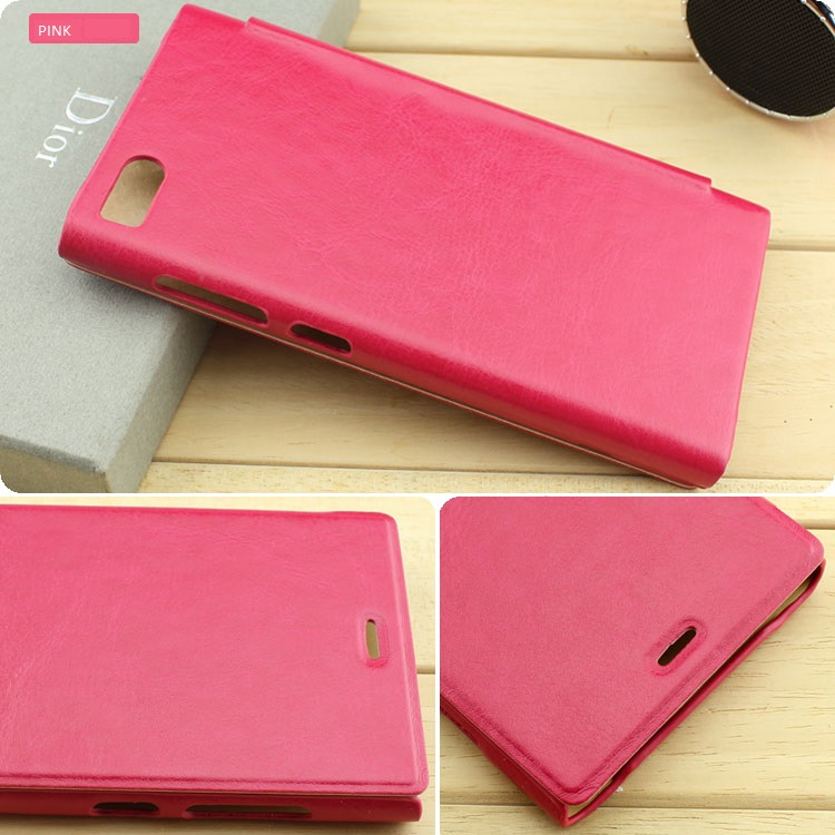 Pink flip cover for xiaomi mi3 leather pudini